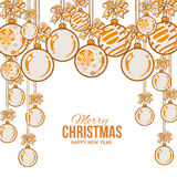 Orange Christmas balls with ribbon and bows, greeting card template Royalty Free Stock Photo