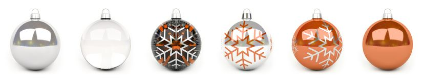 Orange christmas bauble collection 3D rendering. Orange christmas bauble collection on white background 3D rendering Royalty Free Illustration