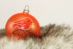 Orange Christmas Bauble on Fur Stock Photography