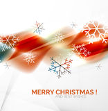 Orange Christmas blurred waves and snowflakes Stock Photography