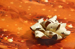Orange Christmas box ribbon detail Royalty Free Stock Photo