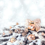 Orange Christmas decorations on abstract background, text space, Stock Photography