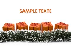 Orange christmas gift box Stock Images