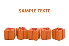 Orange christmas gift box Stock Image