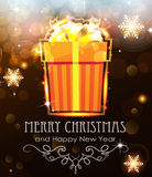 Orange Christmas Gift on holiday background Royalty Free Stock Images