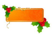 Orange christmas label Stock Photography