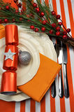 Orange Christmas Table Setting Closeup Stock Photos