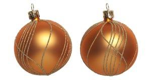 Orange Christmas tree ball. Against white background Stock Images