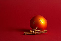 Orange christmas tree ball - orange Weihnachtskugel Stock Photos