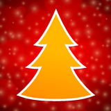 Orange Christmas tree on red abstract background Stock Image