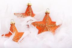 Orange Christmas tree stars Stock Photos