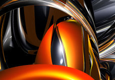 Orange&chrom wires 01. Study of form and color, 3D rendered image produced with Bryce Royalty Free Stock Images