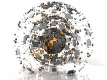 Orange Chrome 3D Earth Metal Sphere Explosion royalty free illustration
