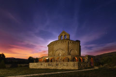 Orange church. A church in the night Royalty Free Stock Images
