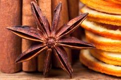 Orange with Cinnamon and Anise Stock Photos