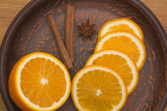 Orange with cinnamon and anise Stock Images
