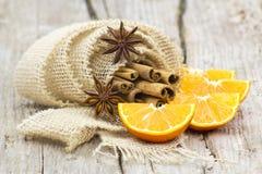 Orange, cinnamon, anise Royalty Free Stock Photo