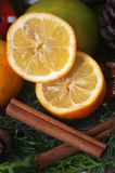 Orange and cinnamon. Aromas winter holidays - citrus and cinnamon Stock Photo