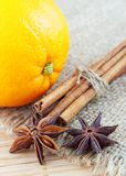 Orange and cinnamon still life Stock Image