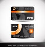 Orange circle black vip credit card vector template Royalty Free Stock Image