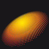 Orange Circle of halftone on a dark background. Royalty Free Stock Photos