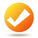 Orange  circle shape internet button with check Royalty Free Stock Photography