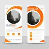 Orange circle triangle roll up business brochure flyer banner design , cover presentation abstract geometric background. Modern publication x-banner and flag royalty free illustration