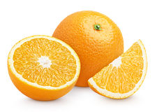 Orange citrus fruit with cut isolated on white Royalty Free Stock Photo