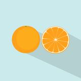 Orange citrus fruit flat design icon vector Royalty Free Stock Photo