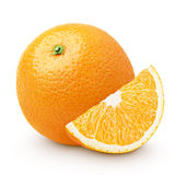 Orange citrus fruit with slice isolated on white Stock Images
