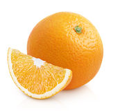 Orange citrus fruit with slice isolated on white Royalty Free Stock Images