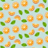 Orange citrus with green leaves on blue background. Juicy seamless vector pattern. Orange citrus with green leaves on blue background. Juicy seamless fresh royalty free illustration