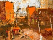 Orange city. Handmade illustration on paper with cityscape Royalty Free Stock Image