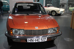 Orange classic NSU car. From Audi Museum in Ingolstadt, Germany Stock Photo