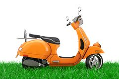 Orange Classic Vintage Retro or Electric Scooter in Green Grass. 3d Rendering vector illustration