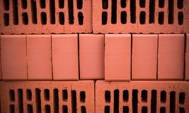 Orange clay brick stack. texture, background. Royalty Free Stock Photos
