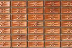 Orange clay brick wall for pattern and background Royalty Free Stock Photo