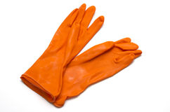 Orange cleaning glove Royalty Free Stock Image