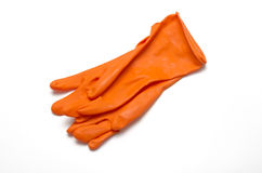 Orange cleaning glove Royalty Free Stock Photo