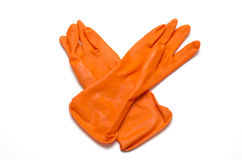 Orange cleaning glove Royalty Free Stock Images