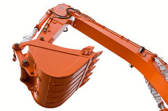 Orange clear excavator bucket beam. Isolated over white with clipping path. Close up Royalty Free Stock Images