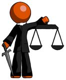 Orange Clergy Man justice concept with scales and sword, justici. A derived - Toon Rendered 3d Illustration Stock Photography