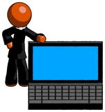 Orange Clergy Man beside large laptop computer, leaning against royalty free stock image