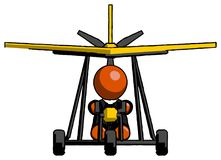 Orange Clergy Man in ultralight aircraft front view stock images
