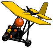 Orange Clergy Man in ultralight aircraft top side view stock images