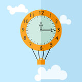 Orange clock-balloon with suitcase. Vector flat style illustration. Orange clock-balloon with suitcase fly away to the sky stock illustration