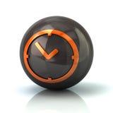 Orange clock icon on black glossy sphere. 3d illustration on white background Royalty Free Stock Images