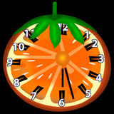 Orange clock. These clock are made of an orange. On it there is CW and number of hours Stock Image