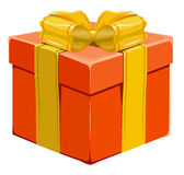 Orange closed gift box with bow Royalty Free Stock Photography