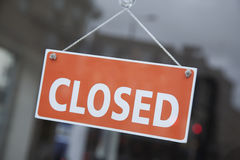 Orange Closed Sign. On Shop Door royalty free stock images